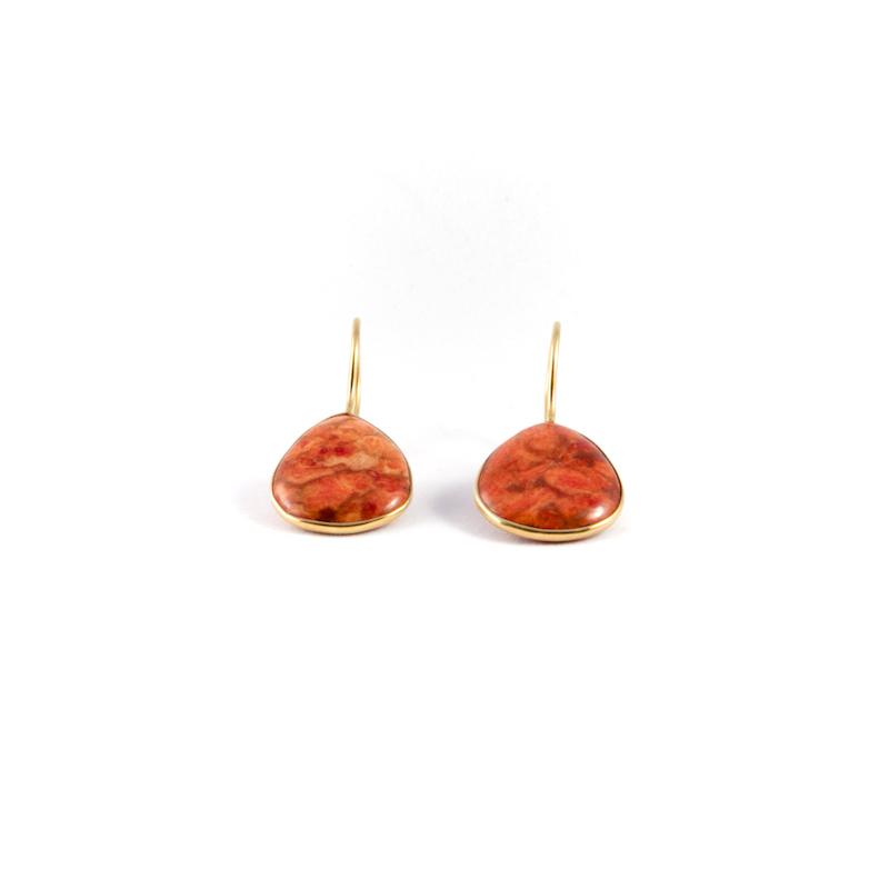 Örhänge Effie Golden Lava i röd turkos