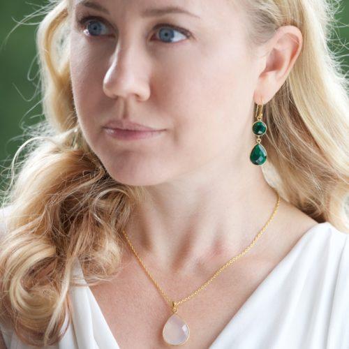 Örhänge Sellma Golden Emerald